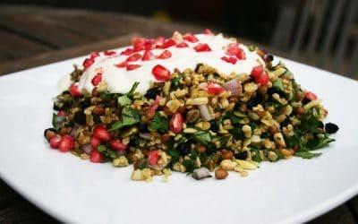 Grain Salad with Yogurt Dressing and Pomegranate